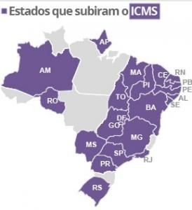 ESTADOS QUE SUBIRAM O ICMS