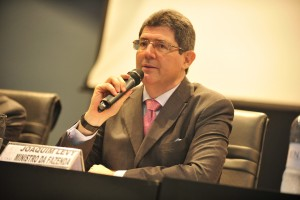 Ministro da Fazenda, Joaquim Levy, na cerimônia de encerramento do X ENAT